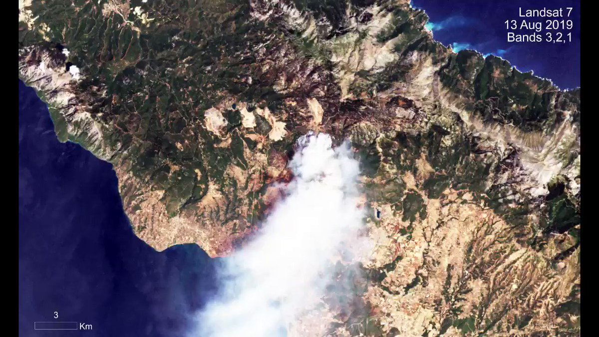 The start of a large wildfire on the #Greek Island of #Evia was captured by #Landsat earlier this week. These gap-filled #Landsat7 images show the difference between a natural color image and one created using infrared bands.