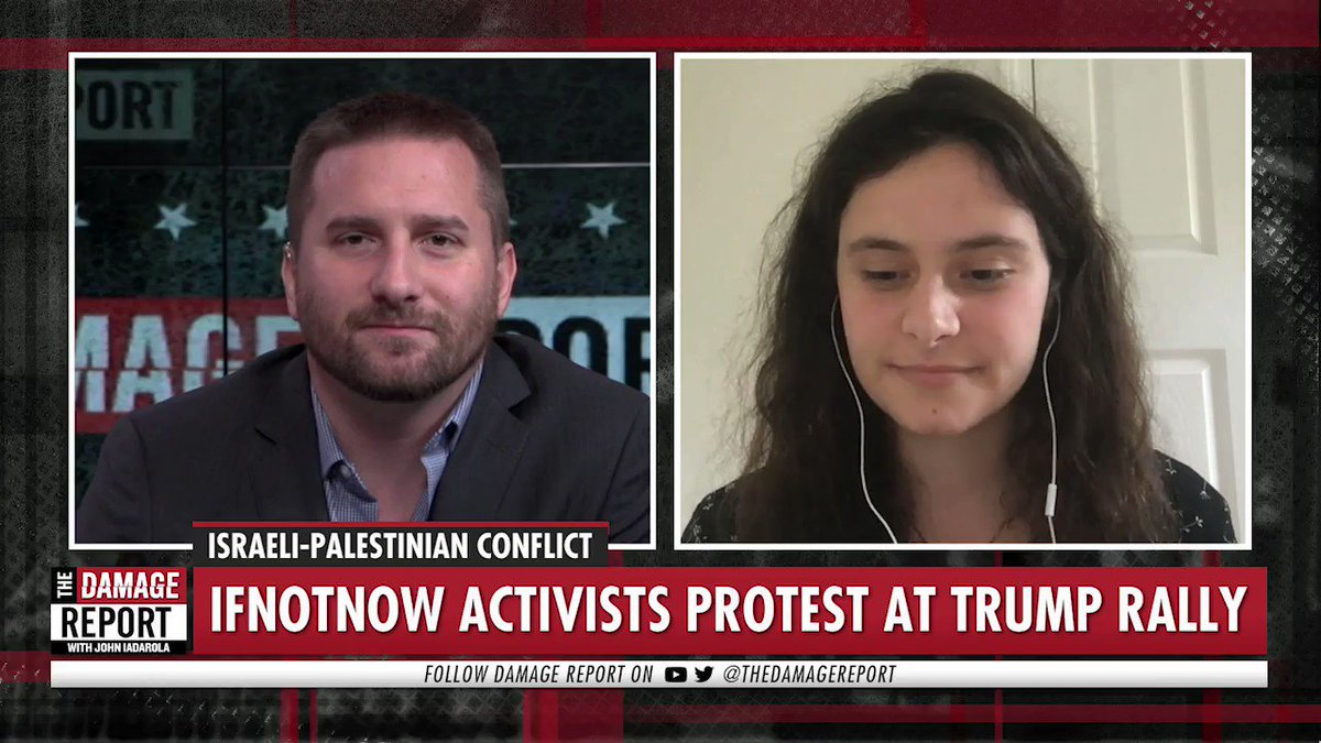 "WATCH: ""Jews know that Trump's support for the occupation does not make him a friend of the Jewish community, because it stems from the same racist ideology behind his white nationalist incitement. - @Be_ccahh on her participation in the @IfNotNowOrg protest at Trump's rally"