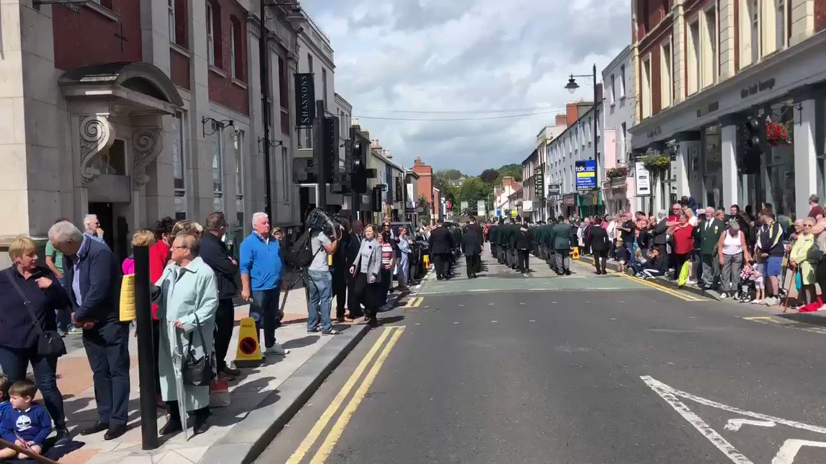 Thousands in Lisburn for the parade marking 50 years since the commencement of #OperationBanner - the deployment of troops in Northern Ireland. Spontaneous applause for each group of veterans