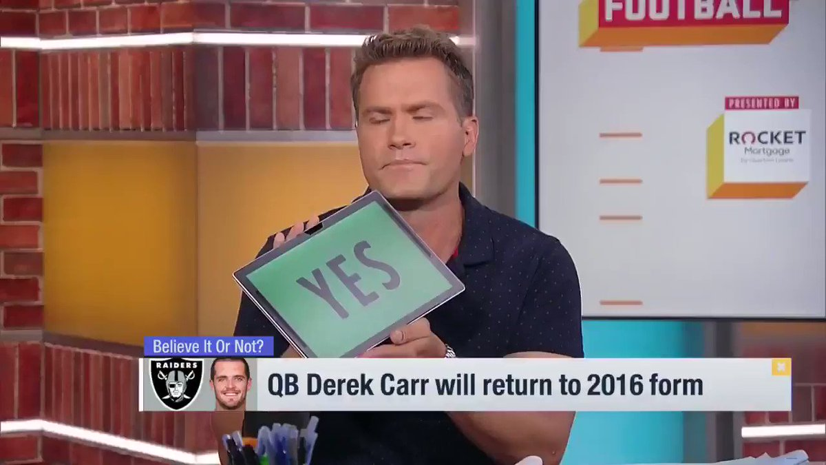 You can tell hes locked in and bought in to everything (Jon) Gruden is selling over there. @nateburleson expects @derekcarrqb to regain his 2016 form 👇 📺: @gmfb