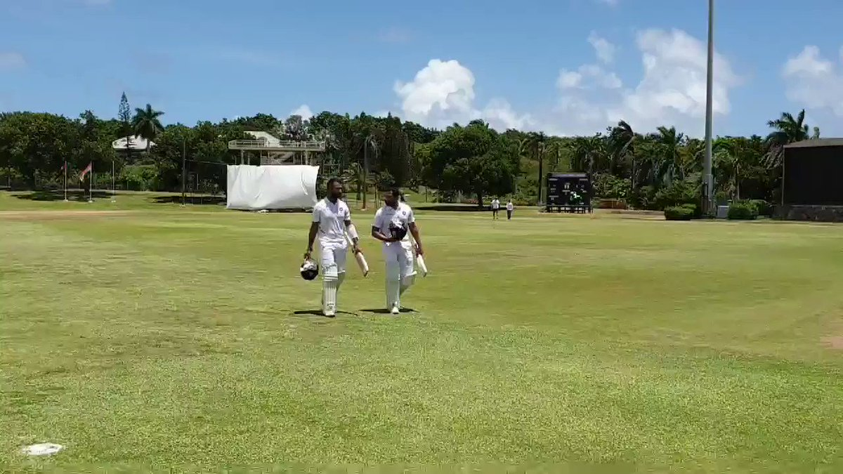 And, that will be Lunch here in Antigua. #TeamIndia 89/3. Rohit Sharma 22* & Pujara 16*