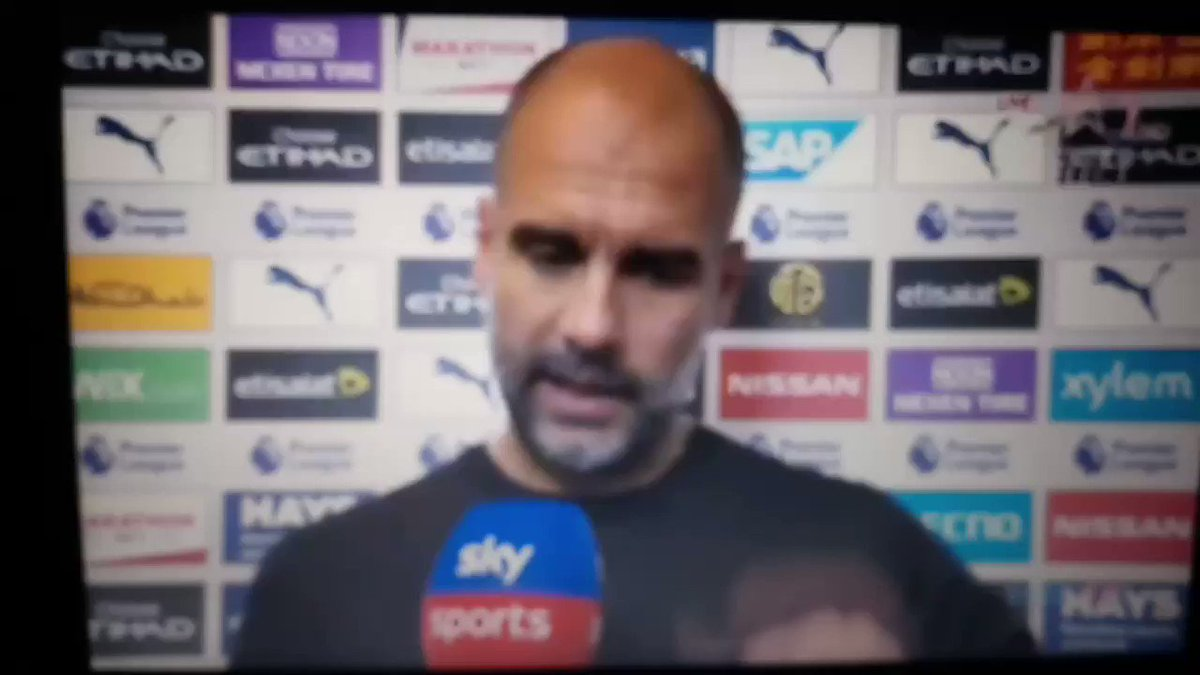 👀 Pep talking about Liverpool's Super Cup game after a Premier League fixture between Man City and Tottenham 🤔🤔