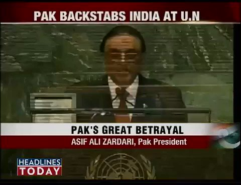 "When Asif Ali Zardari raised the issue of Kashmir at UN in 2012 Indian media cried ""Pakistan backstabs India at UN""after few years PM Nawaz Sharif mentioned the name of Kashmiri freedom fighter Burhan Wani in UN General Assembly today both Zardari and Sharif are behind the bars https://t.co/5g2EEZITbE"