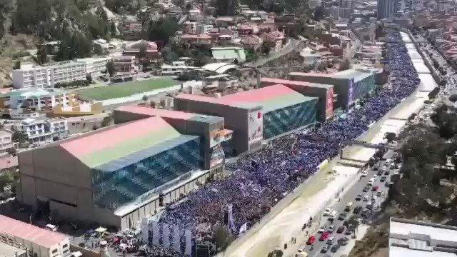 Muy agradecido por la gran concentración del pueblo paceño. Miles de militantes y simpatizantes unidos por nuestro #ProcesoDeCambio. #LaPaz fue cuna de la libertad y ahora es cuna de la lucha por la dignidad de los bolivianos. La Paz nunca nos ha abandonado y nunca nos abandonará