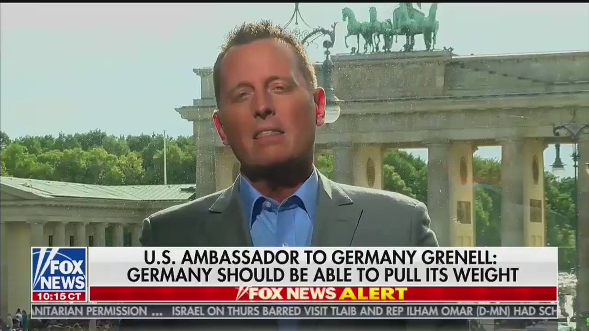 """U.S. Ambassador to Germany Ric Grenell rips Germany: """"What's particularly troubling for many Americans and for Trump is to see that the Germans are spending less on their obligations in NATO while at the same time feeding the beast of Russia with this Nord Stream 2 pipeline"""" https://t.co/5dEu7AdJTs"""
