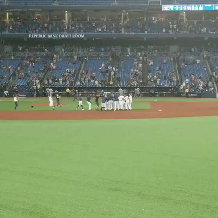 Just witnessed my first MLB walkoff in person and it happened right in front of my face! Such an awesome night 13 innings later. After working my butt off for 14+ hours each day lately this was needed! @RaysBaseball #walkoff