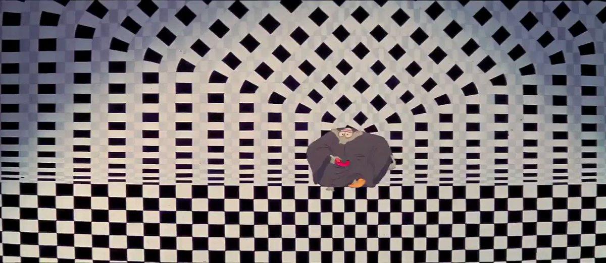 先日亡くなったRichard Williams監督は、'59年の監督処女作や映画タイトルのようなグラフィックデザイン的描写も魅力。実写との融合とアニメ的誇張が両立したロジャー・ラビットでもスパイスになったそんな要素が、不本意な形での公開となったこの渾身作「The Thief and the Cobbler」を彩ってます。