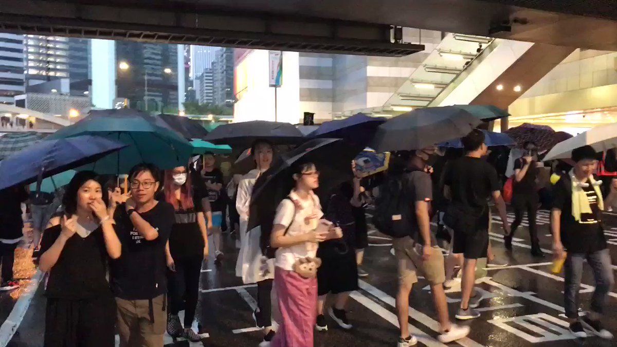The unauthorised march is now going through Harcourt road with some protesters stopping to demonstrate outside the Legco. But no sign of police here, so far