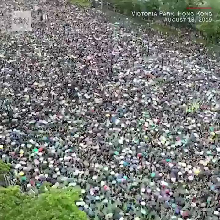 What democracy and peaceful protest look like: 1.7 million people marching yesterday in Hong Kong's Victoria Park.