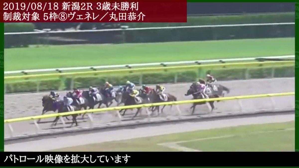 新潟2Rで、8番ヴェネレ(丸田恭介騎手)が、4コーナーで外側に斜行したため、13番オキミヤゲ(野中悠太郎騎手)がバランスを崩した。5番ハートハーツ(川又賢治騎手)にも被害があった。丸田恭介騎手は、2019年8月24日(土)から9月1日(日)まで9日間の騎乗停止となった。  野中悠太郎は華麗なリカバーに注目!