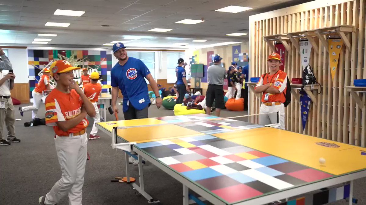 This is what happens when you lose to @kschwarb12 in ping pong. 😂  @GEICO #LittleLeagueClassic