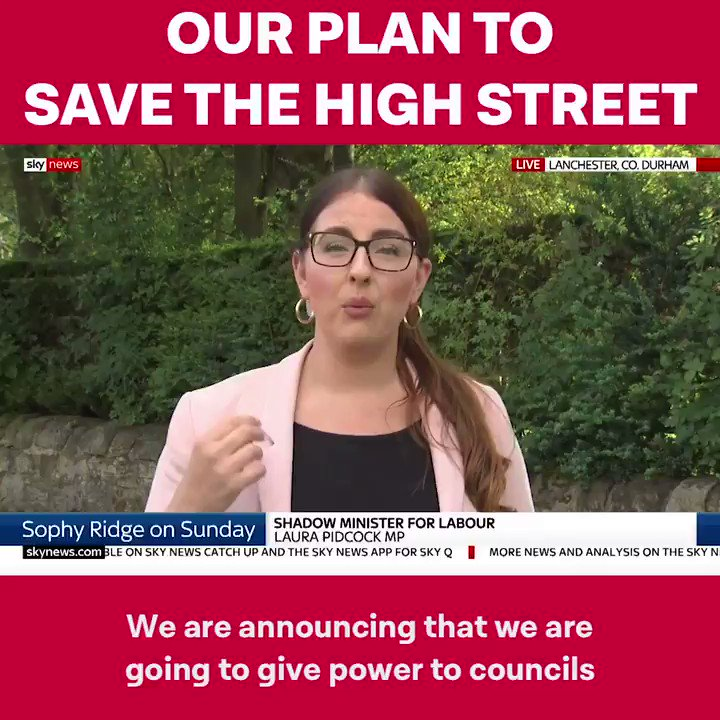 "Me on #Ridge, re @jeremycorbyn & @UKLabour plans to revive high streets. ""We're giving power to councils, to take properties left for 12 months into mgmt'. New start ups, charities & not for profit orgs could use those properties & for somewhere like Consett, that'd be brilliant"""
