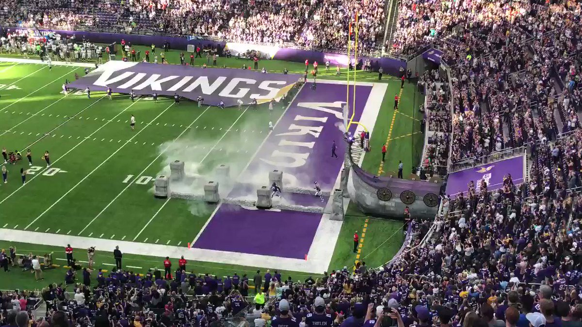 Football. Everson Griffen leads the Vikings out of the tunnel. Sure doesn't feel like preseason tonight at U.S. Bank Stadium... #Vikings #Skol @FOX9 https://t.co/iSqoU2n3Uw