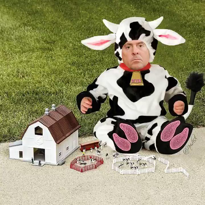 "Devin Nunes ""working"" on his tiny farm. 🐮🐄🐮🐄🐮🐄🐮🐄🐮"