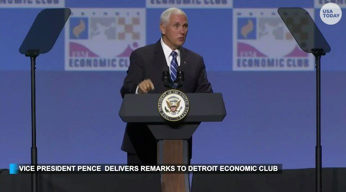 """""""It was here that then-candidate Donald Trump unveiled our plan to reignite opportunity in America...three years later, President Donald Trump delivered, and the American economy is booming!""""  - @VP Mike Pence in Detroit https://t.co/DBclge6G9V"""
