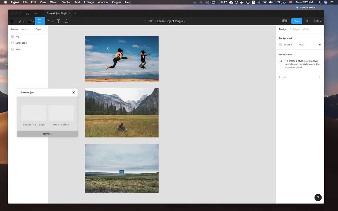 Created my first @figmadesign plugin with @runwayml. Erase objects and people from photos using deep learning-based inpainting.
