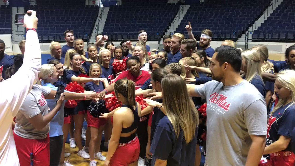 Day Made!!! Had an opportunity to watch @OleMissCheer practice today! Athletes! They Never have a day off! I have so much respect for them & im glad to know that they are on my team! #HottyToddy ❤️💙