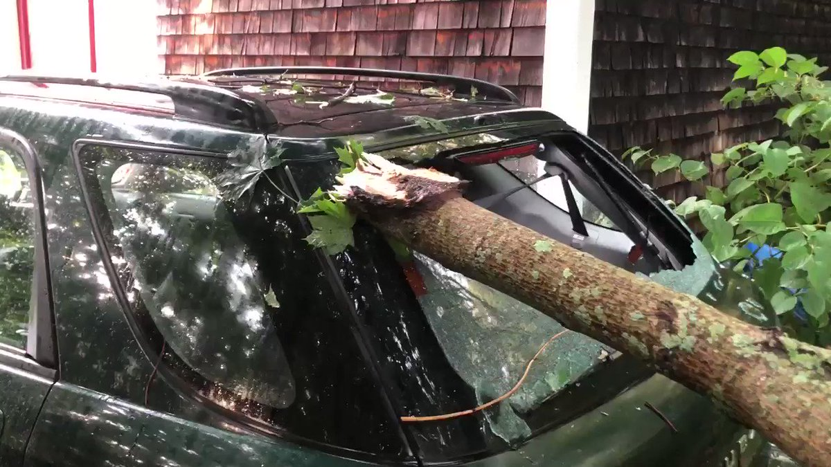 We're seeing some downed power lines too. At least one car is damaged in this neighborhood...we're on Martin St @wpri12