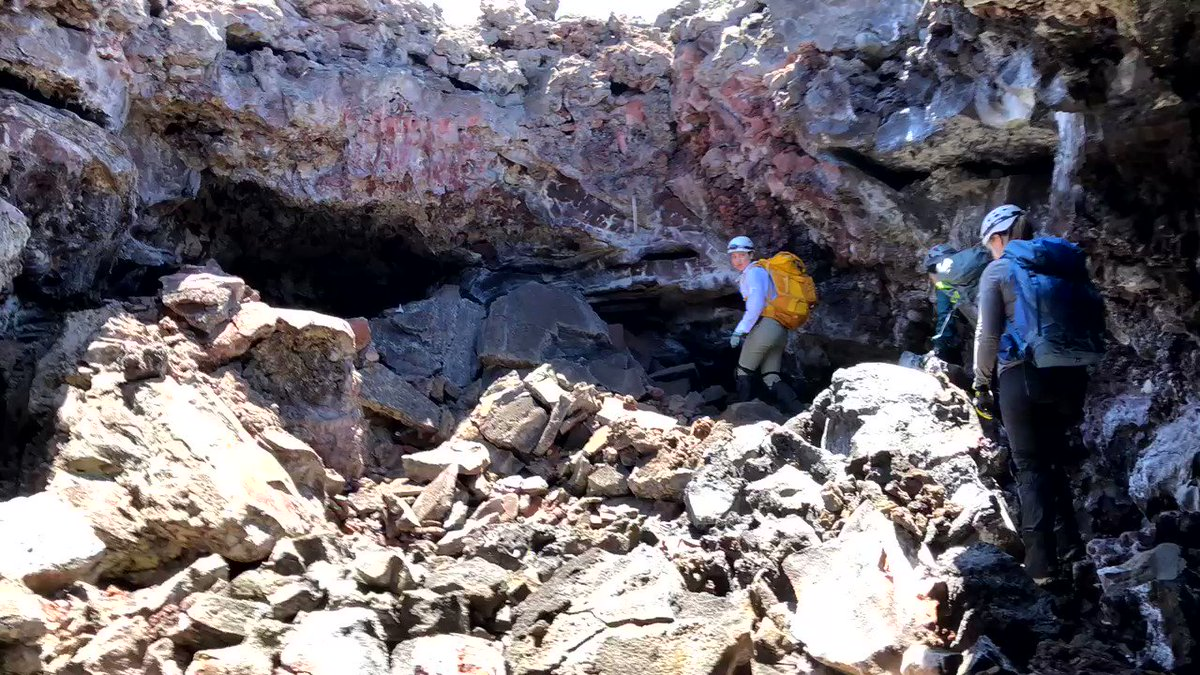 We have three science teams here all week, testing different types of instruments and gathering data on the size and shape of the lava tube, the chemistry and mineralogy of the rocks, and the gases present.