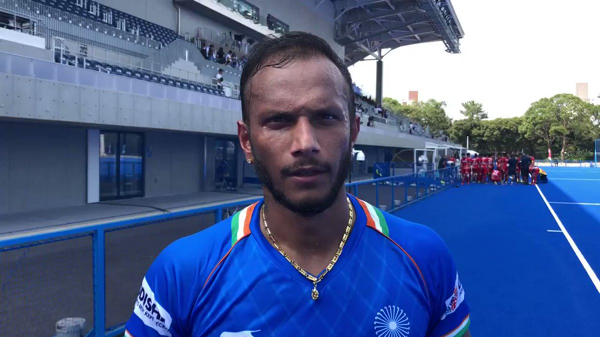 """IND-JPN: 6-3 IND Sunil Sowmarpet: """"We were upset after our last match. Against Japan, we had planned to press them and we made it, so I'm happy. We'll come back stronger tomorrow for the Final."""" #ReadySteadyTokyo #Tokyo2020 @Olympics @Tokyo2020 @TheHockeyIndia"""