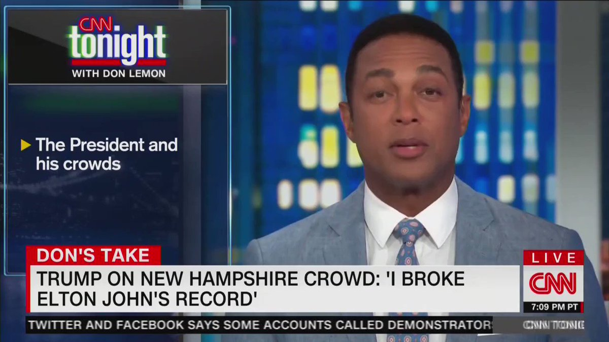 """Even CNN's big hater Don Lemon admits that """"President Trump broke the attendance record at his [New Hampshire] rally last week, even beating Elton John. Thanks Don!"""
