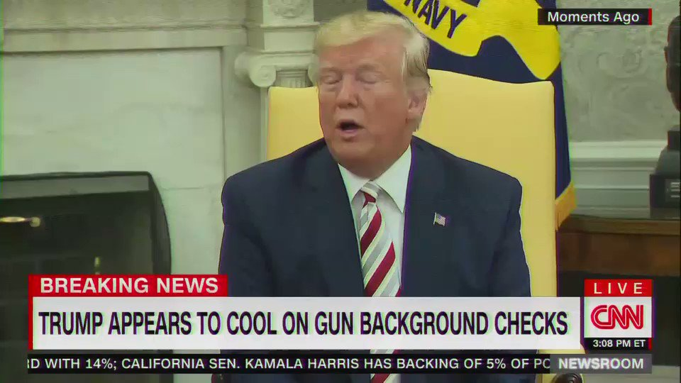 Trump once again backs away from strong gun control measures
