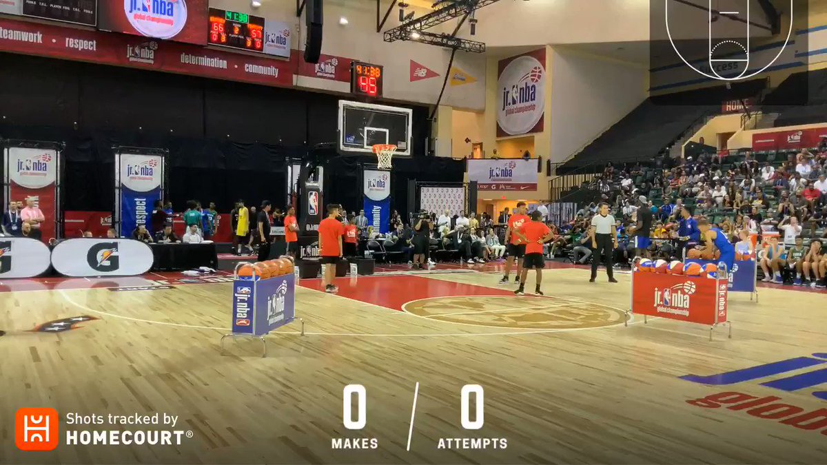 Krisjanis Aboltins caught fire during the 3-Point Contest at #JrNBAGlobalChampionship Skills Night! 🔥   Follow his round using @HomeCourtai! 👀