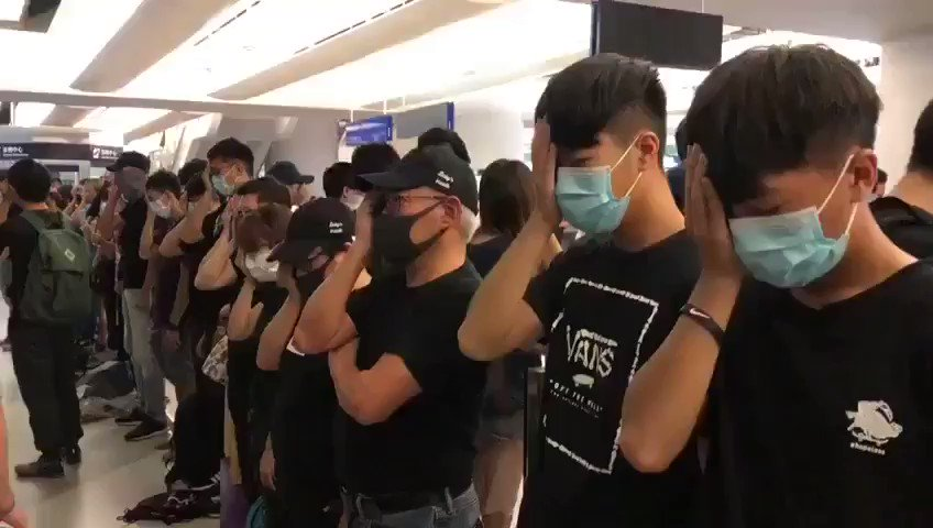 Gives me chills. Today Hong Kong protesters covered one eye. To stand in solidarity with the woman who police shot in the eye during the protests. #FreeHongKong