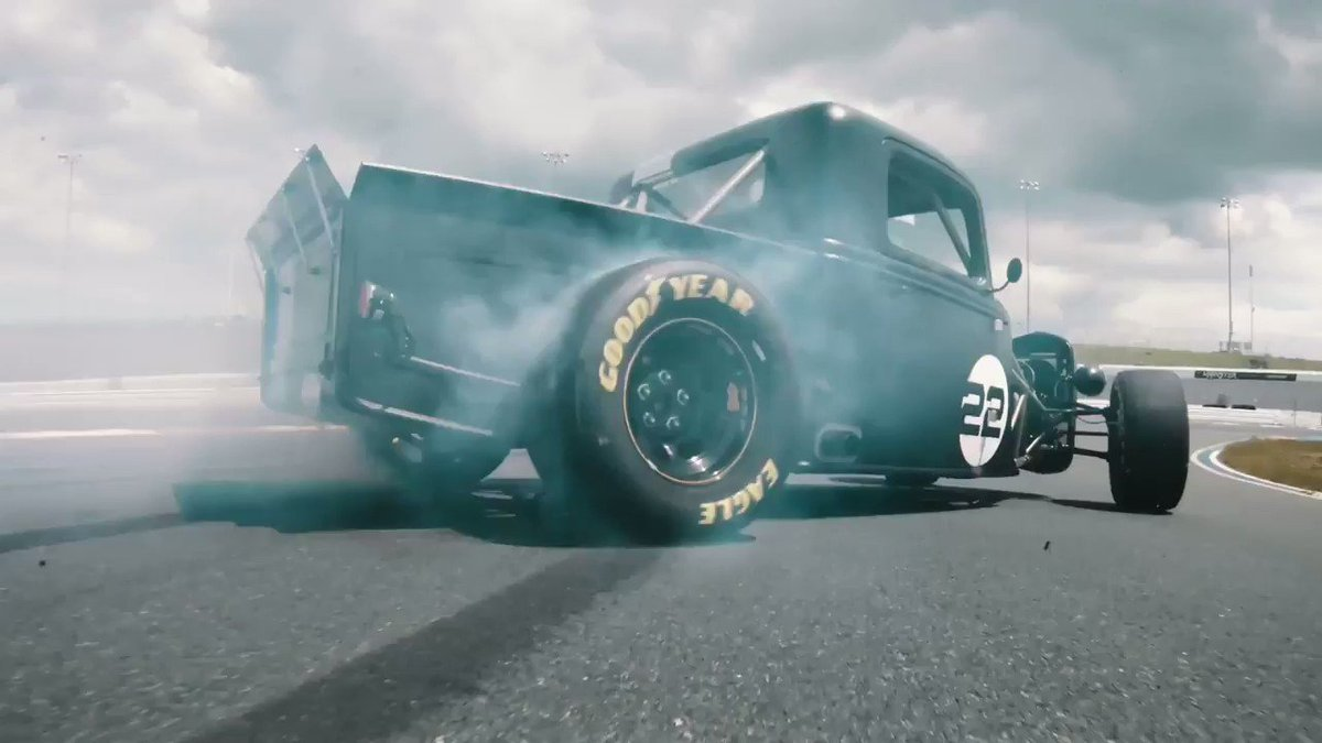 Are you ready to burn some rubber? NASCAR Champion, @joeylogano , puts the 800HP Factory Five Hot Rod Truck through its paces on this seasons finale of From the Ground Up. Premieres Thursday, 8/22 at 11:00AM PST. @FactoryFive @FordPerformance