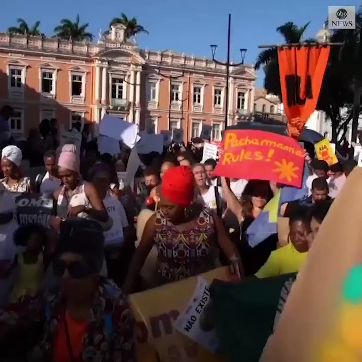 Hundreds of demonstrators took to the streets as record number of fires burn in Brazil's Amazon rainforest. https://abcn.ws/31UNC8M