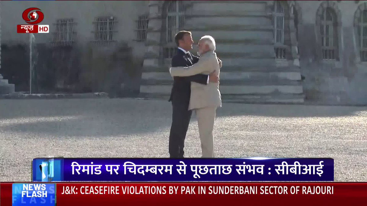 PM @narendramodi meets French President Emmanuel Macron at Château de Chantilly in France