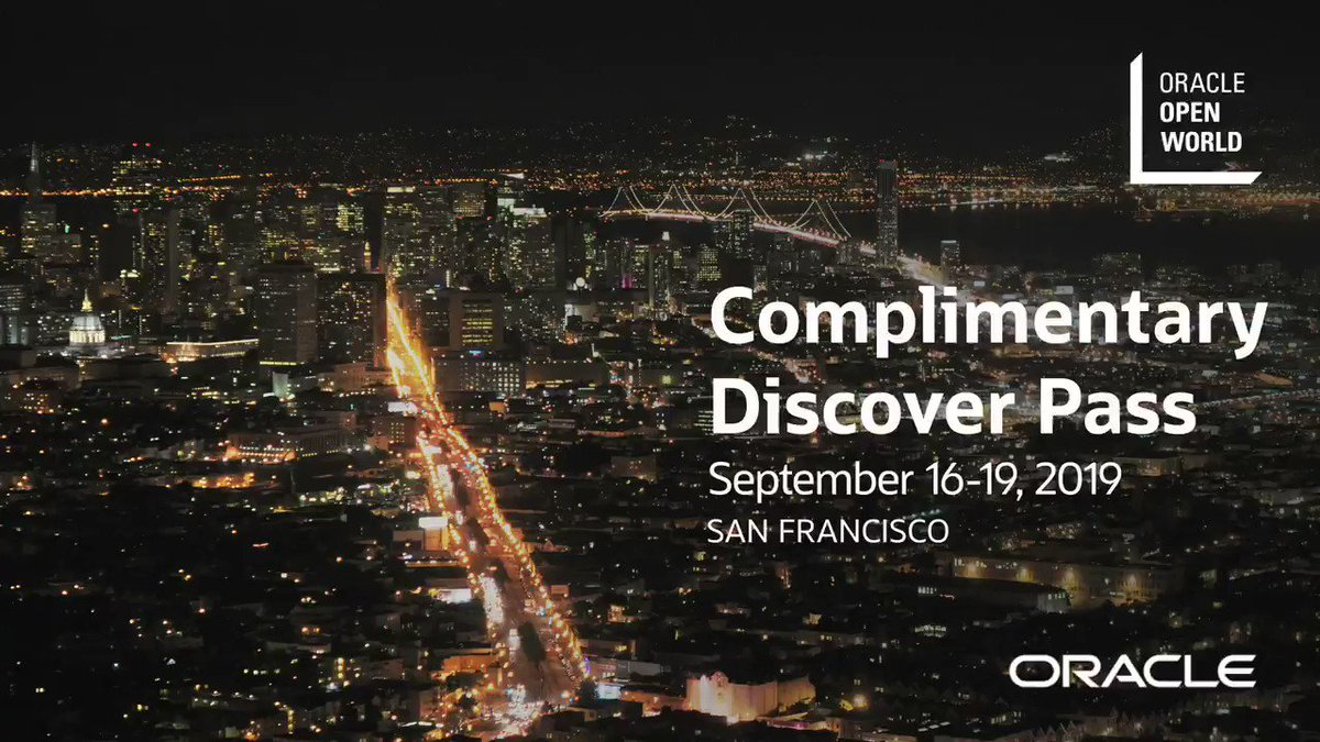 Just launched—Discover the hallmarks of Oracle OpenWorld with a complimentary Discover Pass. Access the keynotes, The Exchange, and demos. Register now: oracl.info/AorL50uAC2I #OOW19