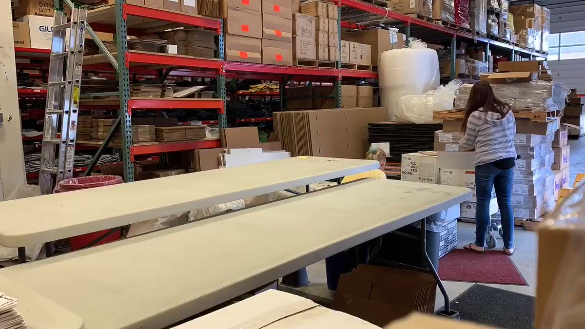 Unpacking our @thataylaa Heck Yeah shirt delivery and then packing them back up to ship out to you! You can still order one here! bit.ly/2Hlmubb #behindthescenes