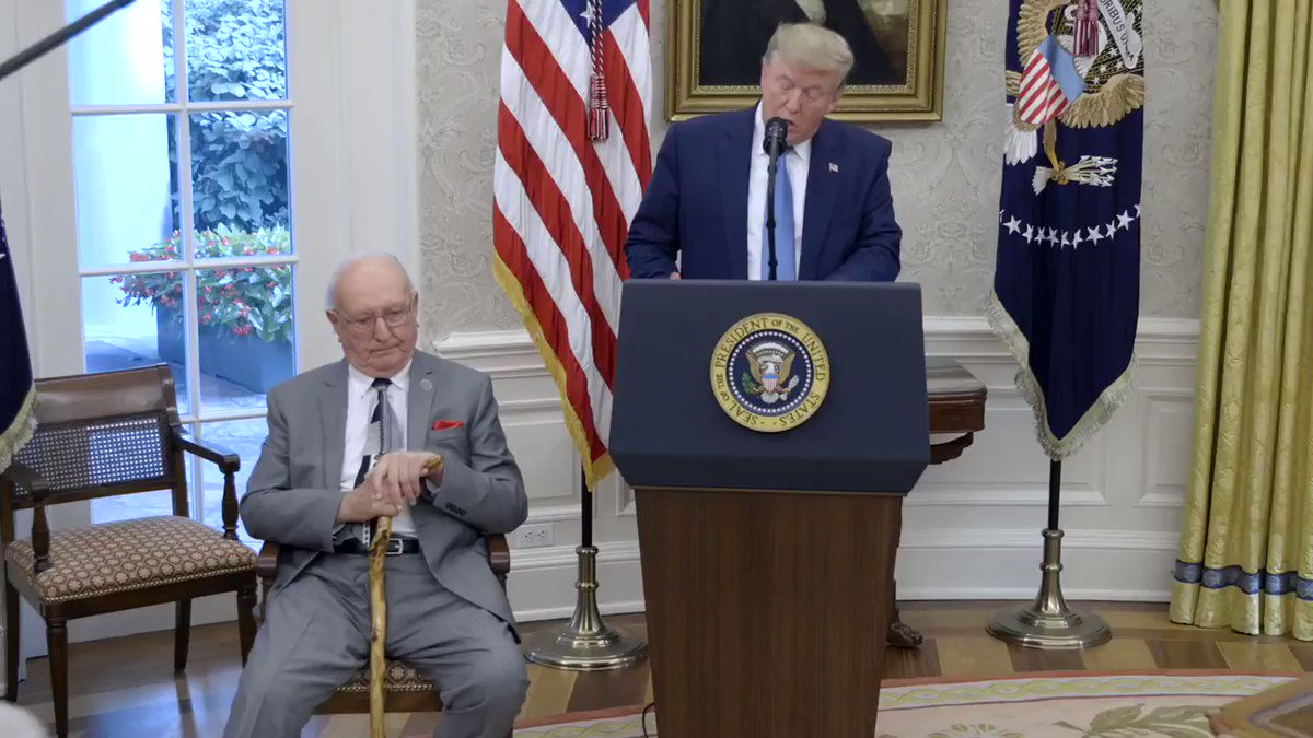 """""""You're one of the all-time greats in the history of sports,"""" President @realDonaldTrump told basketball legend Bob Cousy in the Oval Office.   """"Today, America honors and celebrates everything that you have achieved."""""""
