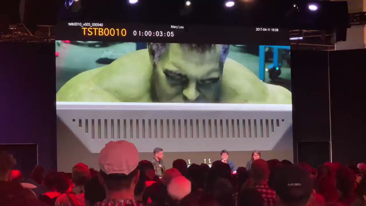 This is test footage of how #Endgame's VFX team made Professor Hulk happen. #D23Expo