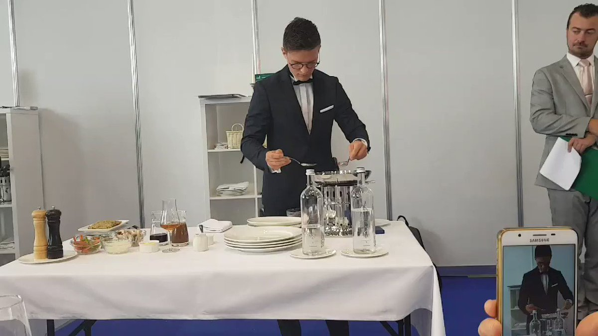 Weve been enjoying the fine dining element of the restaurant service at @WorldSkillsKZN. Here is our server, @WorldSkillsFRs Louis Cozette, making a delicious beef stroganoff right next to us! 😋