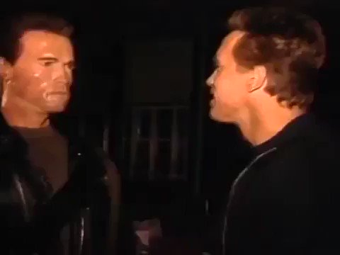 RT @Thisisnotporn: Arnold Schwarzenegger with his animatronic double on the set of Terminator 2: Judgment Day. https://t.co/L50mwfQ3QL