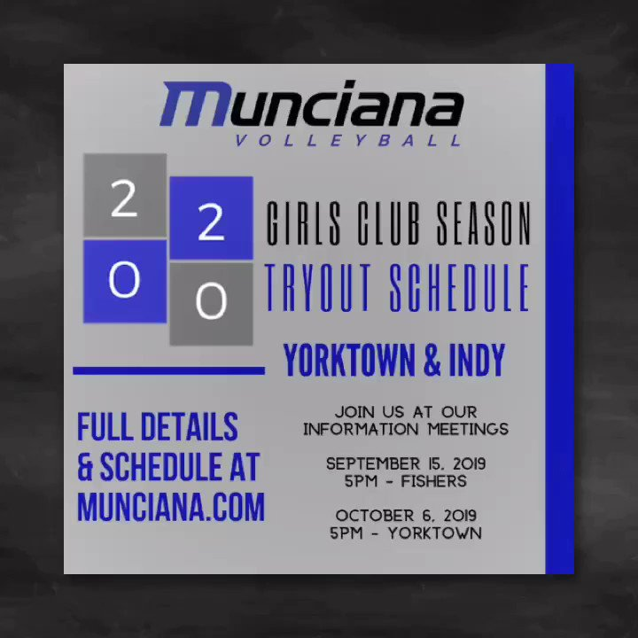 MARK YOUR CALENDARS! 2020 GIRLS Club Season TRYOUT SCHEDULE & INFO MEETINGS! Registration open soon at http://MUNCIANA.COM  #athleticexcellence #lifetimeexperience