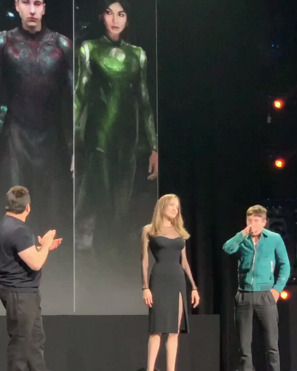 A closer look at the cast of Marvel Studios' THE ETERNALS on stage at the #D23Expo