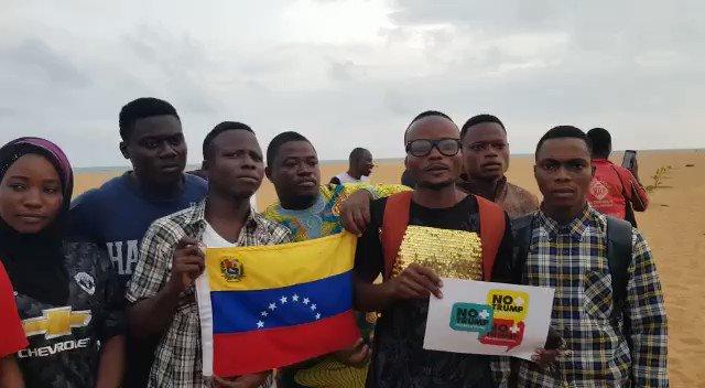 Venezuelan supporters from #Benin: Today we say No, no, no, stop, stop, stop! the U.S. attacks on Venezuela #NoMoreTrump #HandsOffVenezuela