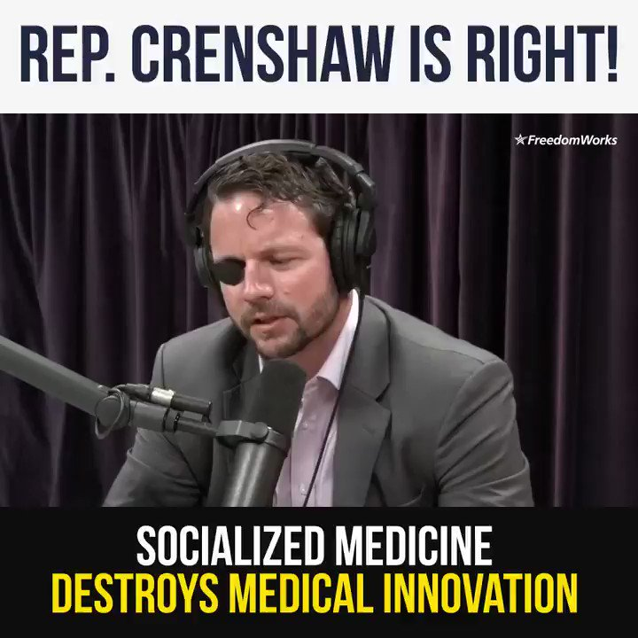 Rep. @DanCrenshawTX is right! Socialized medicine destroys medical innovation and hurts American businesses and patients! #ampFW