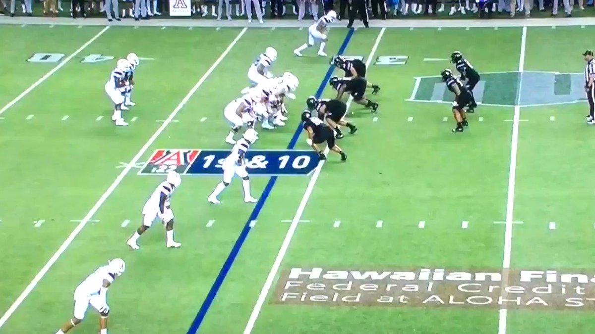 """Incredible effort from Hawaii nose tackle Manly Williams to track down Khalil Tate 40 yards down the field for the game-saving tackle. This is why coaches rave about """"motor"""" so often"""
