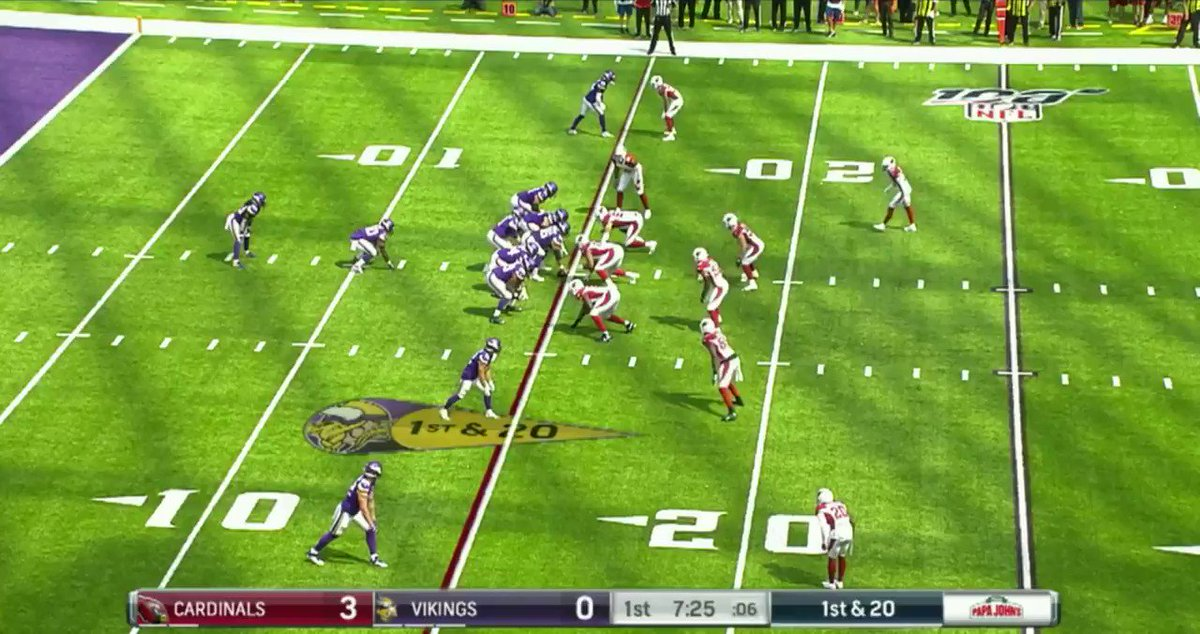 Takeaways from the #AZvsMIN game  1. Christian Kirk and Larry Fitzgerald hardly played together on the field (Just 1/38 snaps) 2. David Johnson w/ 11 touches in 38 plays 3. Alexander Mattison was the 2nd RB in for the Vikings 3a. Dalvin Cook looked great in his 3 rush attempts https://t.co/QSlb87a9VS