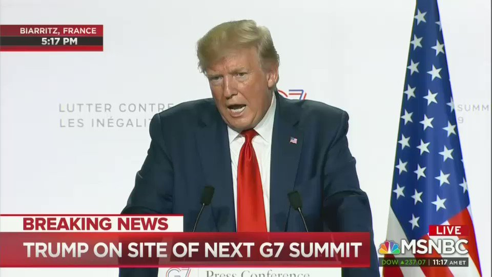 Try not to laugh as Trump claims he doesn't care about making money off of the presidency. #G7