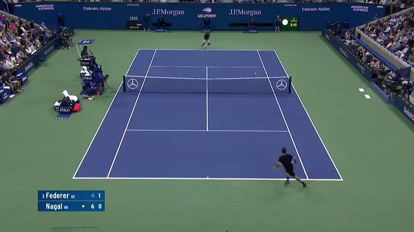 Wonderful rally between @rogerfederer & @nagalsumit at #USOpen   #SumitNagal #RogerFederer https://t.co/nIFCuEfedx