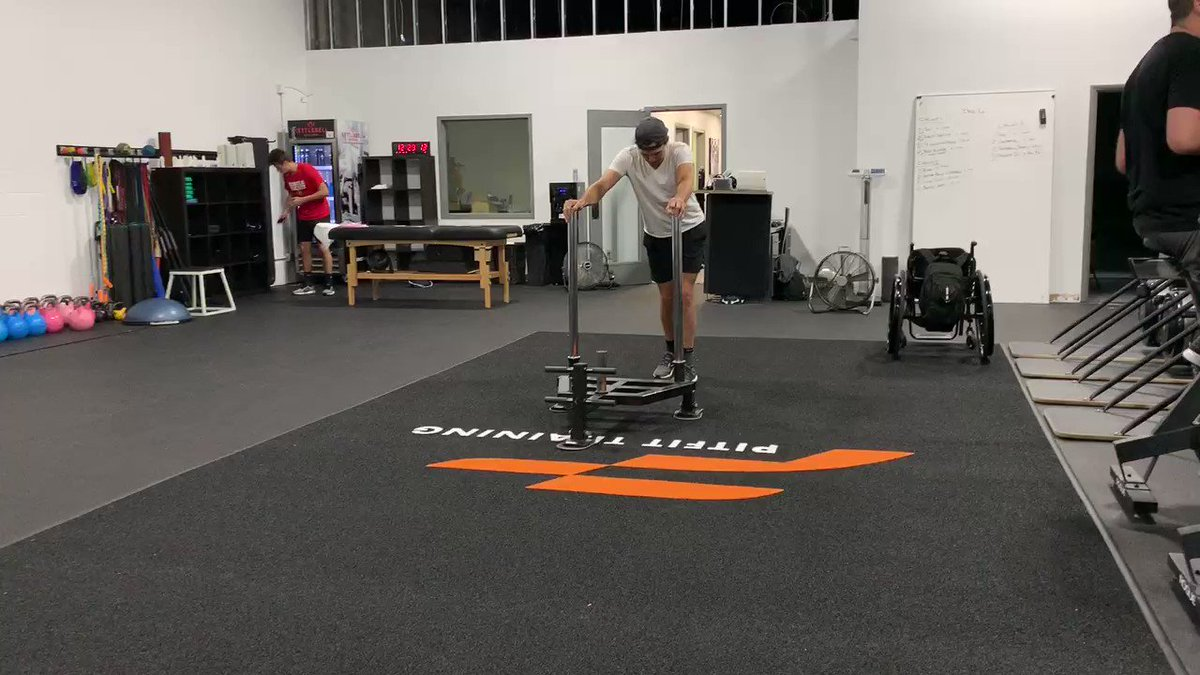 Breaking in the new and improved @pitfittraining facility today! The new flooring looks great, but it doesn't let me drag my feet! Which is a good thing I guess! #spinalcordinjury #sci #prowlerpush