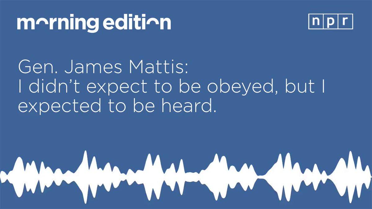 NPR News Interviews Former Defense Chief Jim Mattis