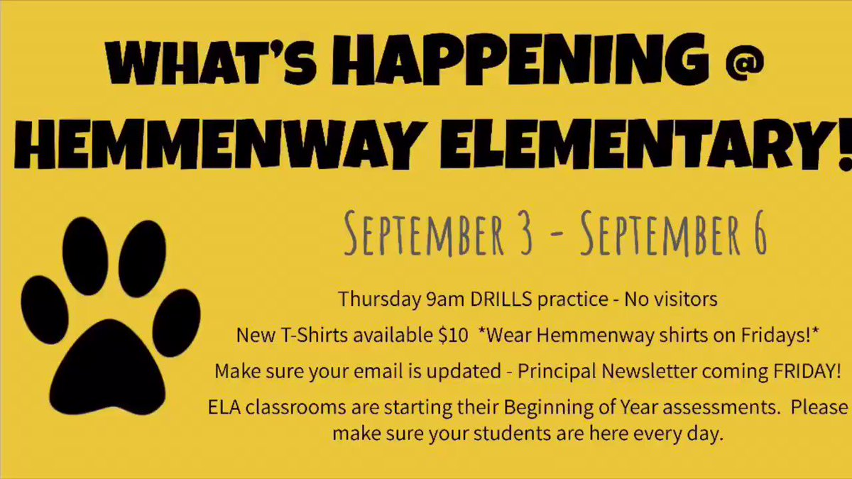 Here's what's HAPPENING at HEMMENWAY this week!