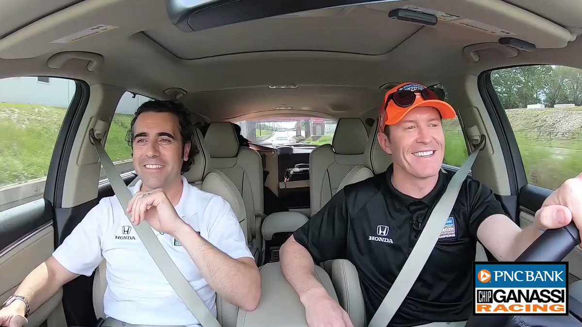 I brought you some undies. Uhh... 😳😂 @dariofranchitti joins @scottdixon9 on the latest episode of #ALapWithScott presented by @PNCBank! #BankOnThe9 | #INDYCAR