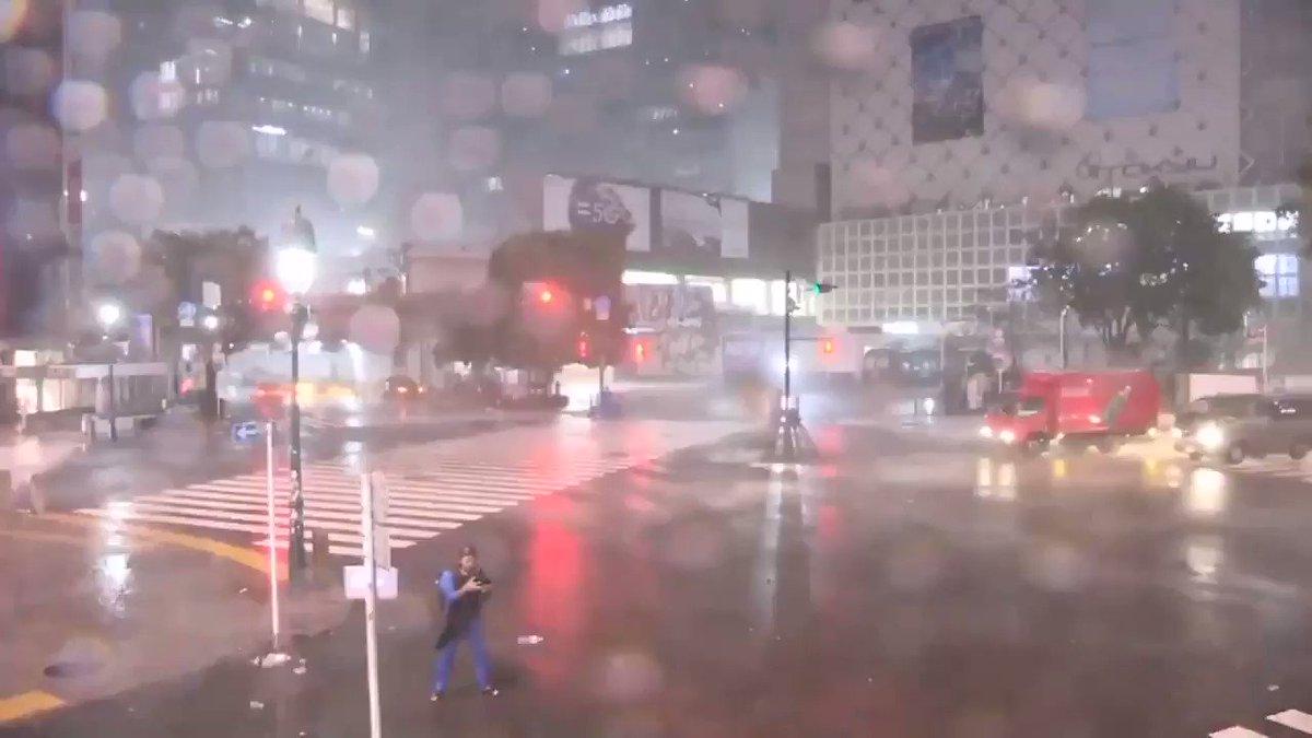 寝れなくて渋谷のLIVEカメラ見てたら台風の目がいた